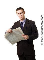 jornal, jovem, leitura, posição homem