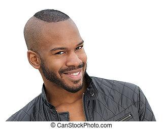 jovem, americano, africano, sorrindo, macho, modelo, bonito