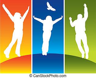 jovem, pular, três pessoas