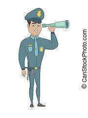 jovem, segurança, monitorando, spyglass., policial