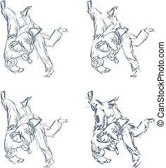 judo, isolado, mão, vetorial, desenhado, lançamento