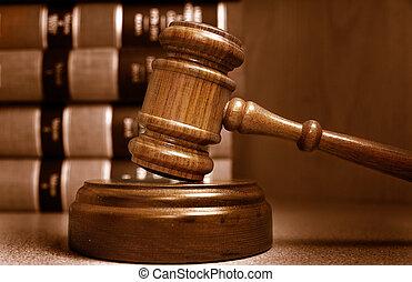 juizes, empilhado, atrás de, livros, gavel, lei