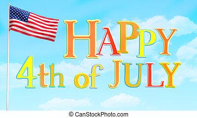 julho, feliz, 4, saudação