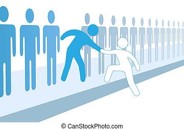 juntar, ajuda, pessoas, cima, membro, equipe, novo