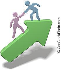 juntar, pessoas, cima, mão, ajudando, seta