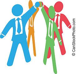 juntar, pessoas negócio, trabalho, cima, mãos, equipe