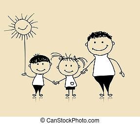 junto, desenho, feliz, crianças, pai, família, sorrindo, esboço