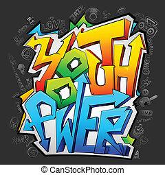 juventude, graffiti, poder