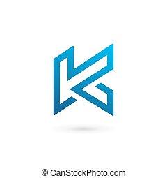 k, elementos, modelo, logotipo, ícone, letra, desenho