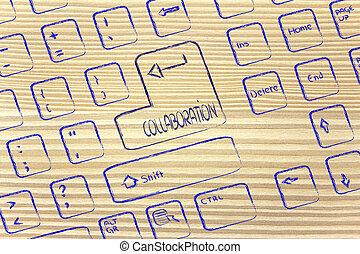 key:, colaboração, computador, especiais, teclado
