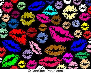 lábios, impressões, coloridos