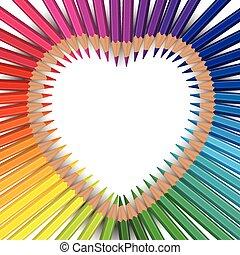 lápis, arco íris