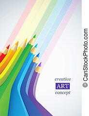 lápis, arte abstrata, cor, fundo