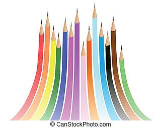 lápis, coloridos, abstratos, arco íris, fundo, formado