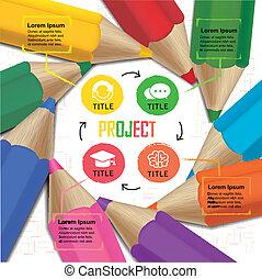 lápis, coloridos, cha, fluxo, criativo, infographic, modelo