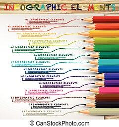 lápis, coloridos, desenho, linhas, infographic, educação