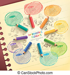 lápis, coloridos, fluxo, criativo, infographic, modelo, desenho