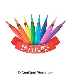 lápis, coloridos, vetorial, cobertura