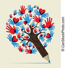 lápis, conceito, amor, árvore, mãos
