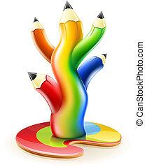 lápis, conceito, arte, cor, árvore, criativo