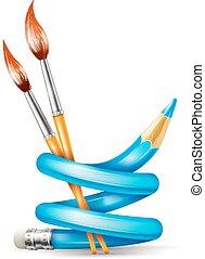 lápis, conceito, arte, escovas, torcido, criativo, desenho