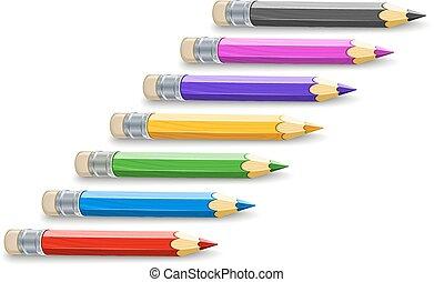 lápis, cor, jogo, desenho