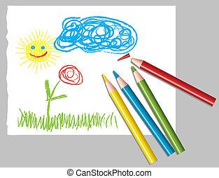 lápis, criança, colorido, desenho