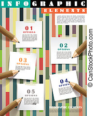 lápis, escrita, modelo, criativo, infographic, correspondência-isto