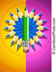 lápis, feito, colorido, desenho, fundo, círculo
