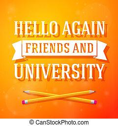 lápis, luminoso, novamente, cruzado, amigos, cartão, olá, universidade, saudação, positivo, vetorial, experiência.