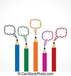 lápis, mensagem, bolha, coloridos