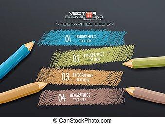 lápis, modelo, coloridos, infographic, fundo, desenho