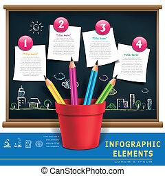 lápis, modelo, serviço doméstico, criativo, infographic, fluxo