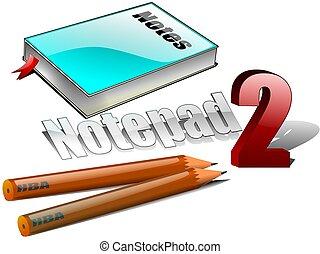 lápis, notepad, ilustração