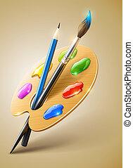 lápis, paleta, arte, pintar escova, ferramentas, desenho