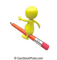 lápis, passeio, 3d, pessoas