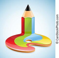 lápis, símbolo, arte, visual