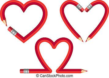 lápis, vetorial, jogo, vermelho, corações
