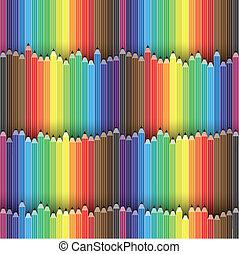 lápis, vetorial, organizado, coloridos, lápis, este, graphic., contém, espectro, ilustração, seamless, cores, background-, creiom, ícones, ou