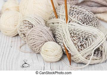 lã, agulhas, tricotando, fio, skeins