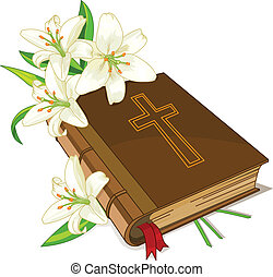 lírio, bíblia, flores