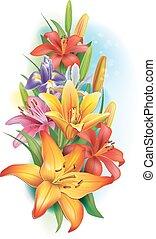 lírios, íris, flores, guirlanda
