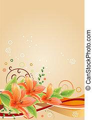 lírios, elementos, primavera, quadro, bege, abstratos