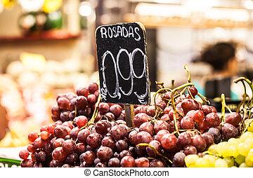 la, frutas, mercado, barcelona, boqueria, feira, famosos