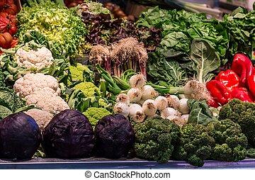 la, legumes, boqueria, famosos, barcelona, mercado, frutas, espanha