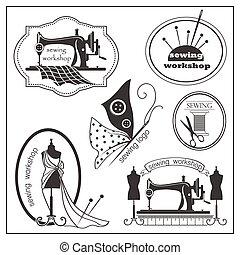 lable, esboço, vindima, cosendo, estilo, logotype