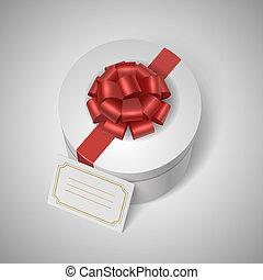 lable, fita, clássicas, arco, giftbox, em branco, vermelho