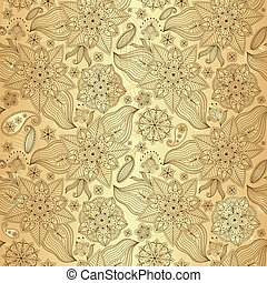 lacy, seamless, ouro, padrão