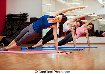 lado, classe ioga, prancha