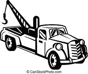 lado, vindima, retro, branca, ou, caminhão, wrecker, vista, pick-up, pretas, reboque